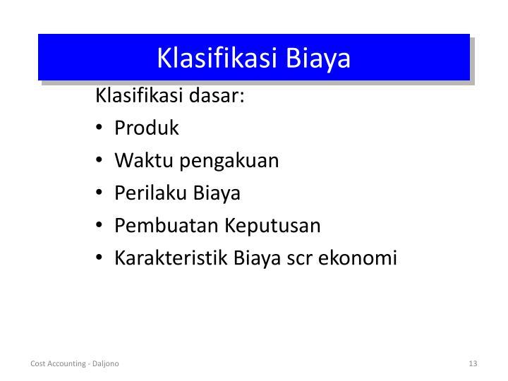 Klasifikasi Biaya