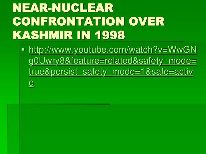 NEAR-NUCLEAR CONFRONTATION OVER KASHMIR IN 1998
