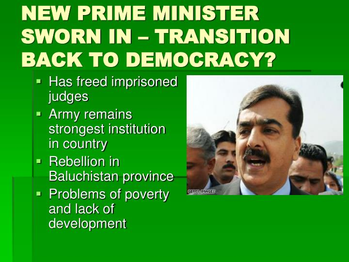 NEW PRIME MINISTER SWORN IN – TRANSITION BACK TO DEMOCRACY?
