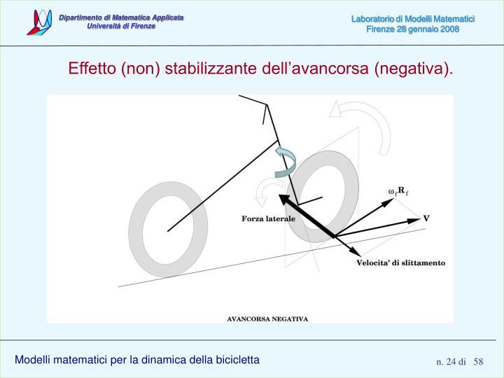 Effetto (non) stabilizzante dell'avancorsa (negativa).