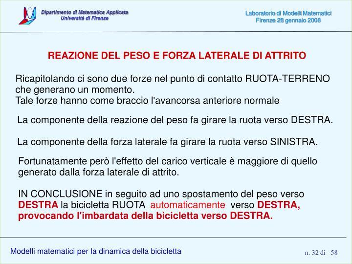 REAZIONE DEL PESO E FORZA LATERALE DI ATTRITO