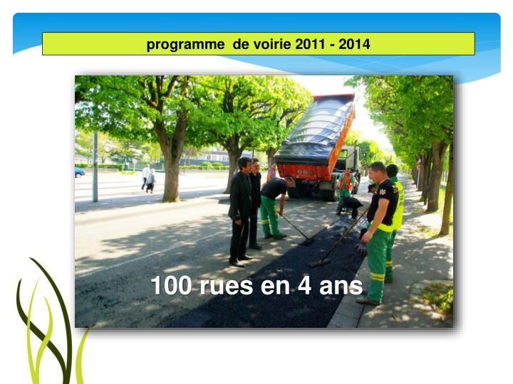 programme  de voirie 2011 - 2014