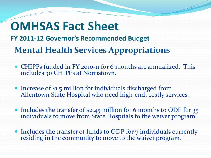 Omhsas fact sheet fy 2011 12 governor s recommended budget