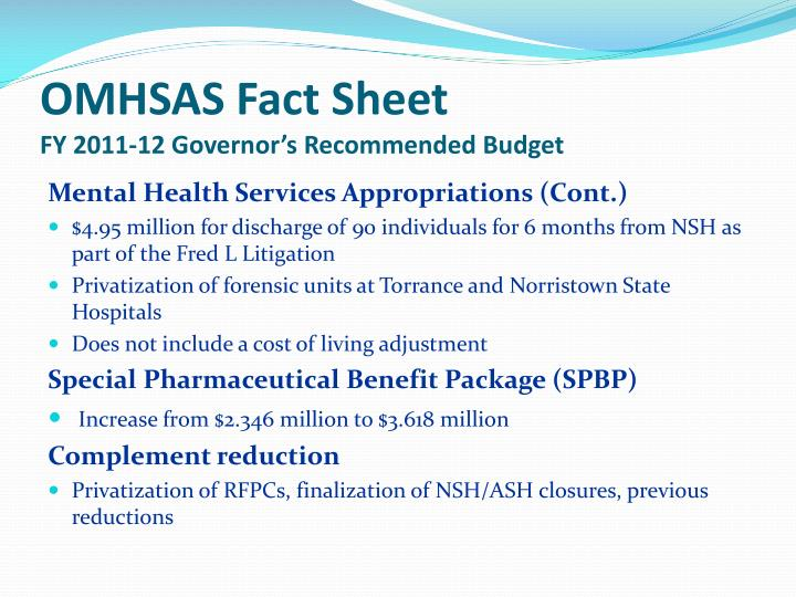 Omhsas fact sheet fy 2011 12 governor s recommended budget1
