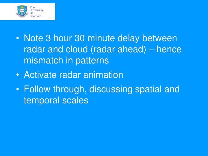 Note 3 hour 30 minute delay between radar and cloud (radar ahead) – hence mismatch in patterns