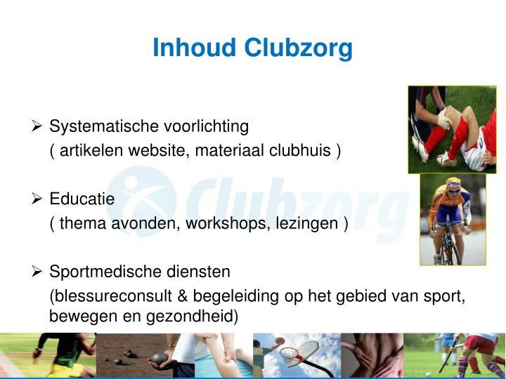 Inhoud Clubzorg