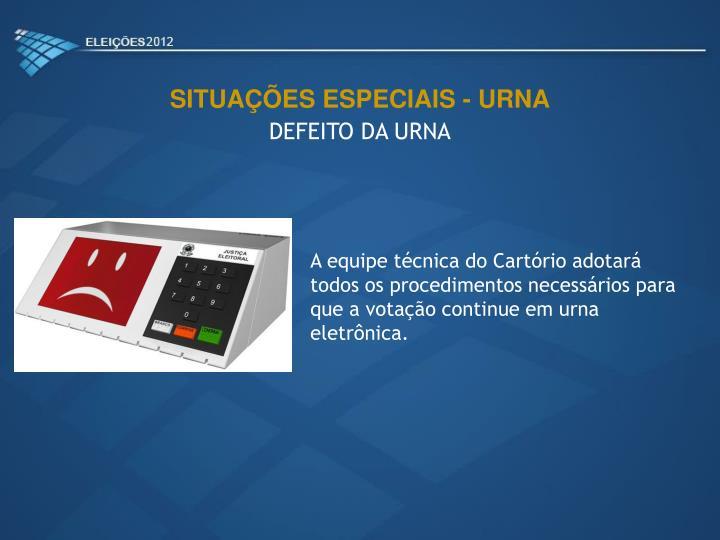 SITUAÇÕES ESPECIAIS - URNA