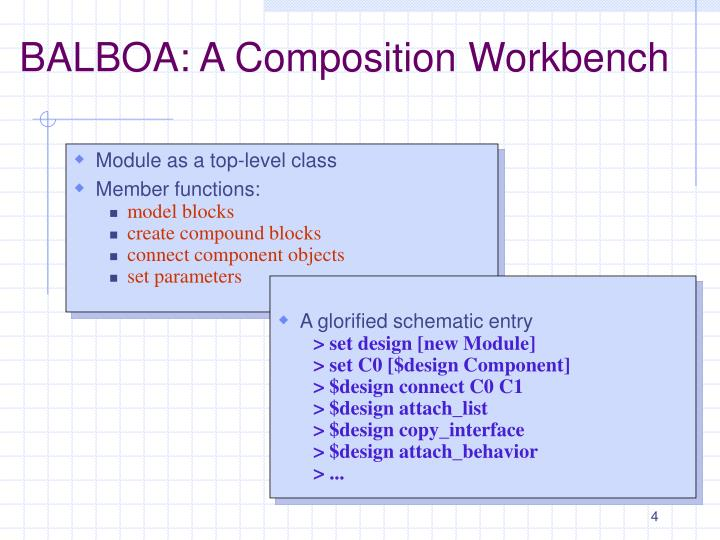 BALBOA: A Composition Workbench