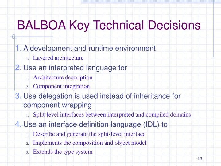 BALBOA Key Technical Decisions