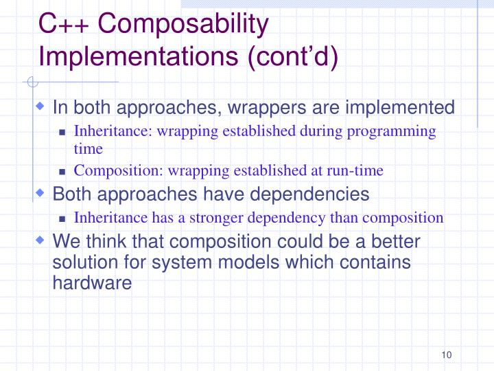 C++ Composability Implementations (cont'd)