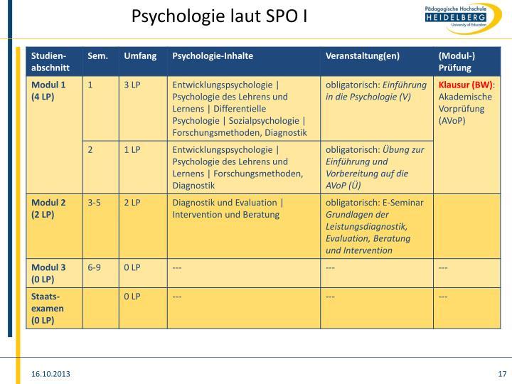 Psychologie laut SPO I