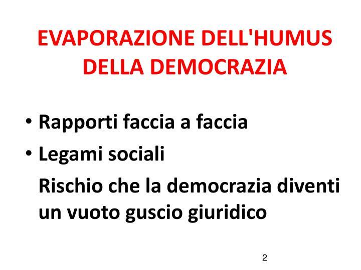 EVAPORAZIONE DELL'HUMUS DELLA DEMOCRAZIA