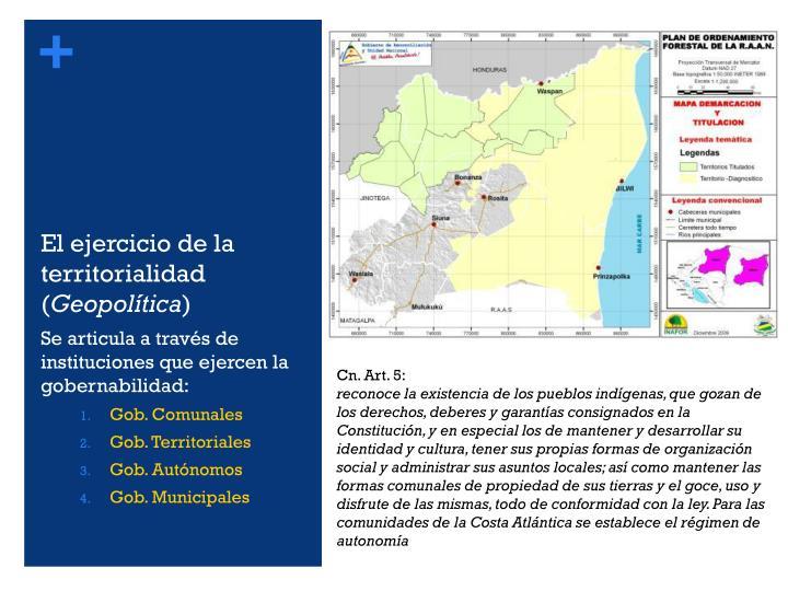 El ejercicio de la territorialidad (