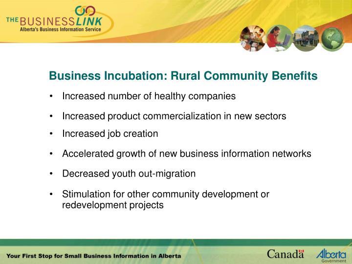 Business Incubation: Rural Community Benefits