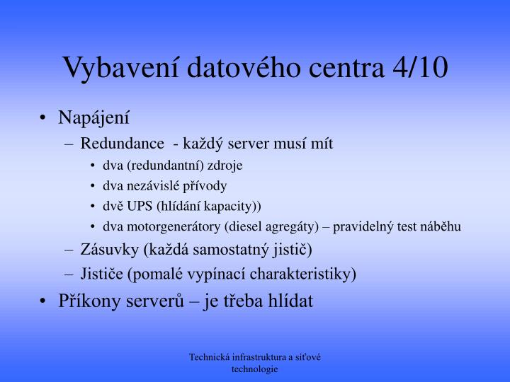 Vybavení datového centra