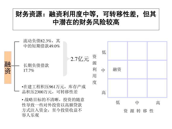 财务资源:融资利用度中等,可转移性差,但其中潜在的财务风险较高