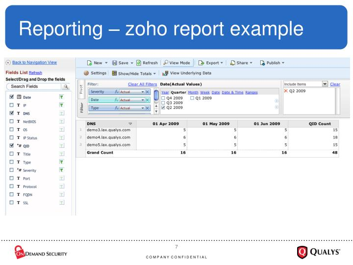 Reporting – zoho report example
