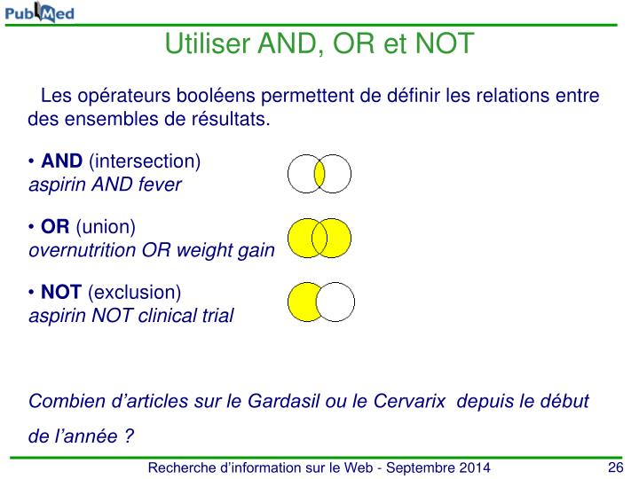 Utiliser AND, OR et NOT