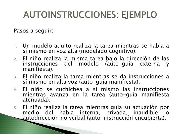AUTOINSTRUCCIONES: EJEMPLO