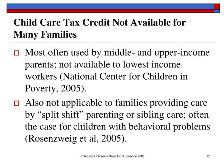 Child Care Tax Credit Not Available for Many Families