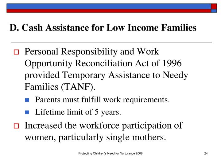 D. Cash Assistance for Low Income Families