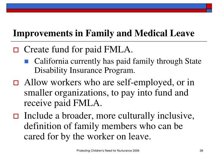 Improvements in Family and Medical Leave