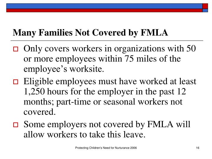 Many Families Not Covered by FMLA