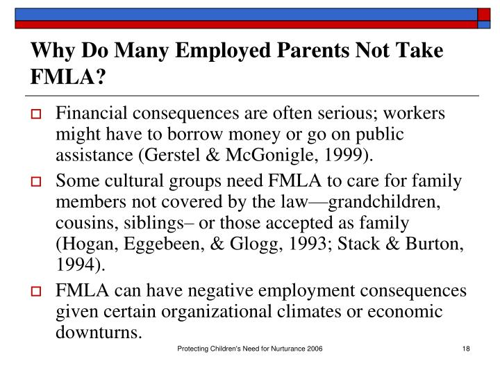 Why Do Many Employed Parents Not Take FMLA?