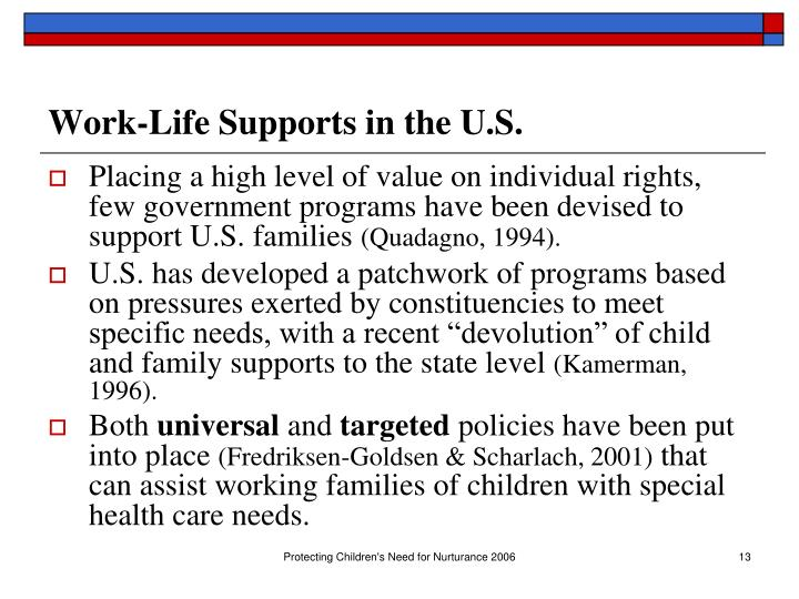 Work-Life Supports in the U.S.