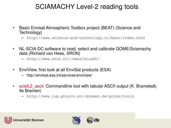SCIAMACHY Level-2 reading tools