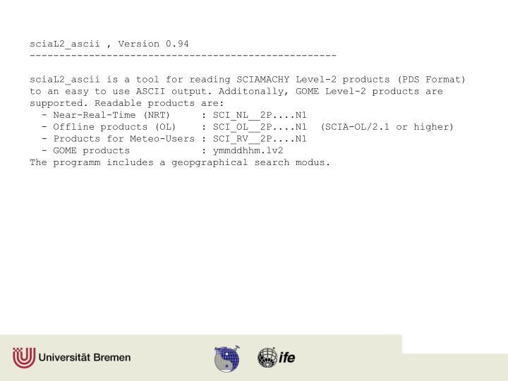 sciaL2_ascii , Version 0.94