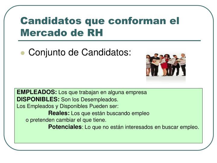 Candidatos que conforman el Mercado de RH