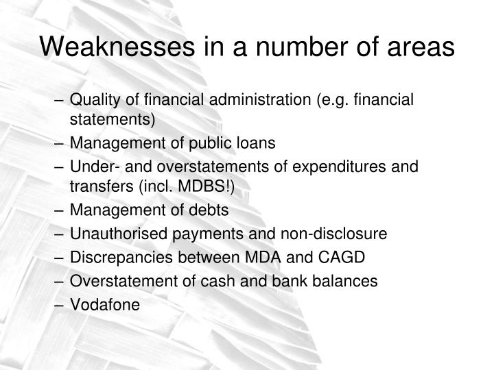Weaknesses in a number of areas