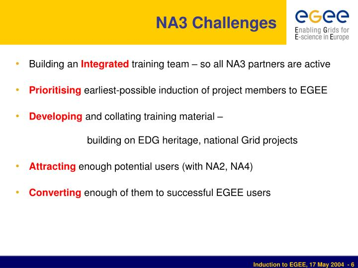 NA3 Challenges