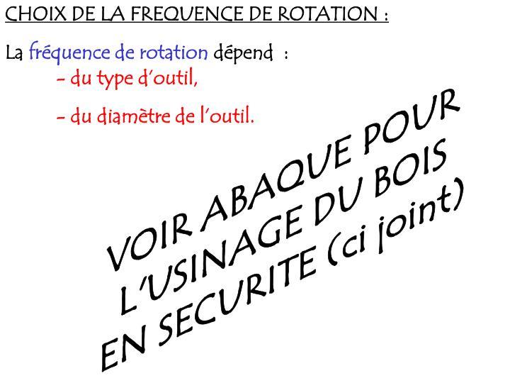 CHOIX DE LA FREQUENCE DE ROTATION: