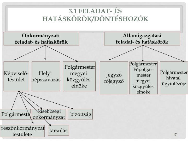 3.1 Feladat- és hatáskörök/Döntéshozók