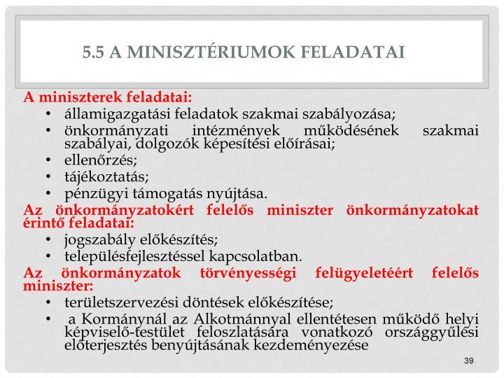 5.5 A minisztériumok feladatai