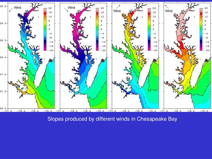 Slopes produced by different winds in Chesapeake Bay