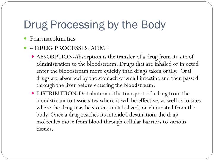 Drug Processing by the Body