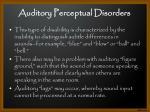 auditory perceptual disorders