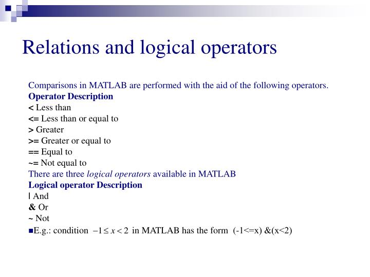 Relations and logical operators