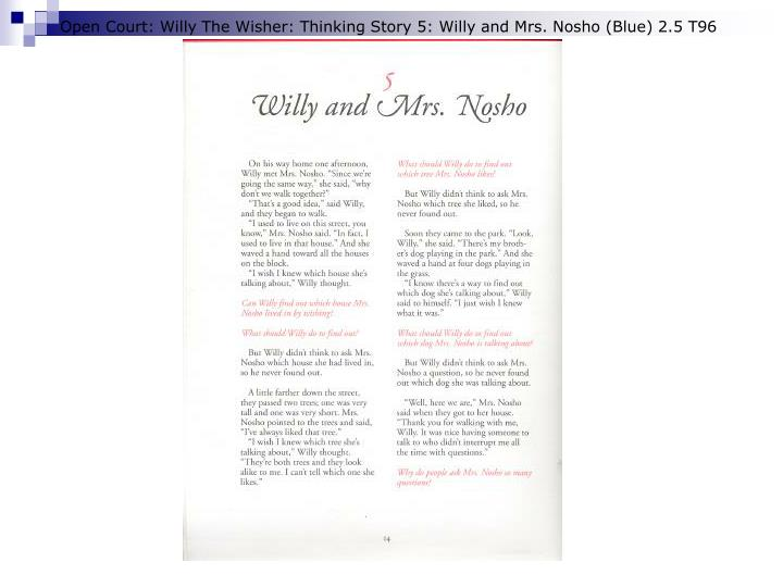 Open Court: Willy The Wisher: Thinking Story 5: Willy and Mrs. Nosho (Blue) 2.5 T96