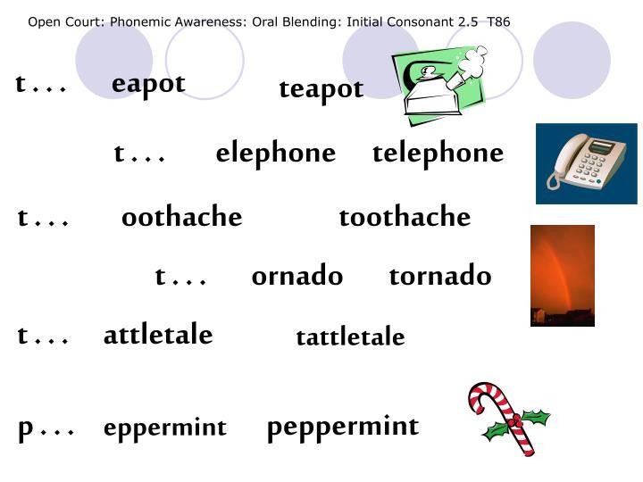 Open Court: Phonemic Awareness: Oral Blending: Initial Consonant 2.5  T86