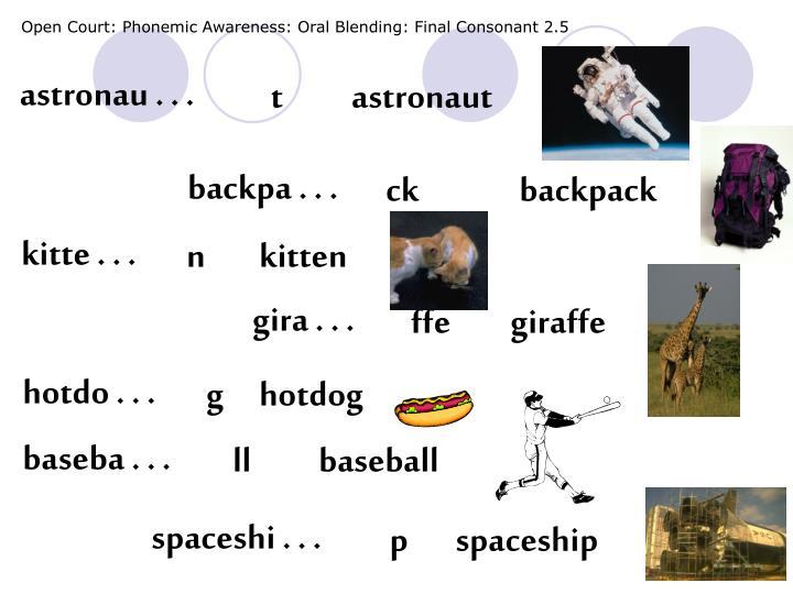 Open Court: Phonemic Awareness: Oral Blending: Final Consonant 2.5