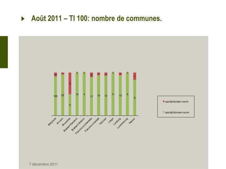 Août 2011 – TI 100: nombre de communes.
