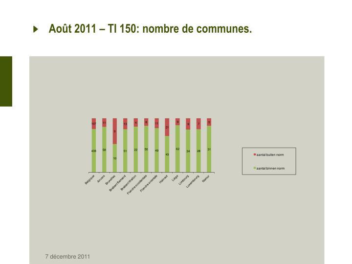 Août 2011 – TI 150: nombre de communes.