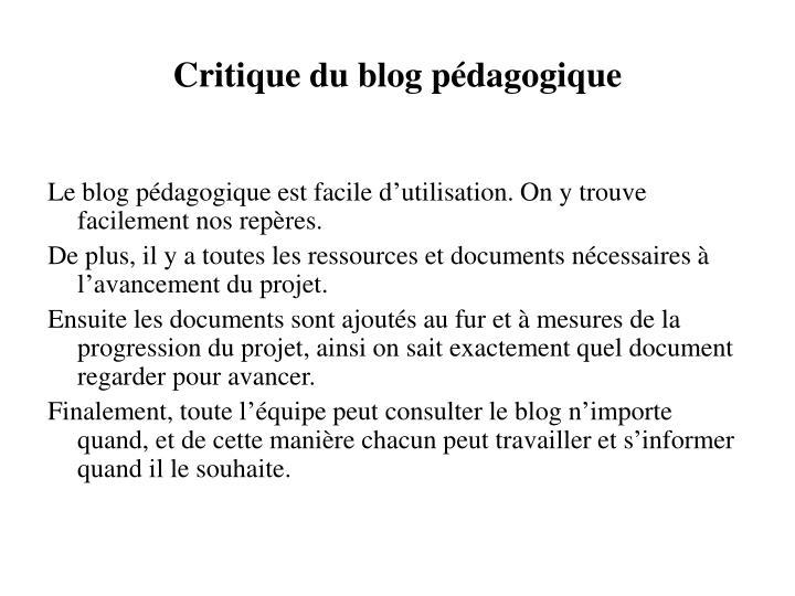 Critique du blog pédagogique