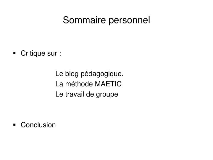 Sommaire personnel