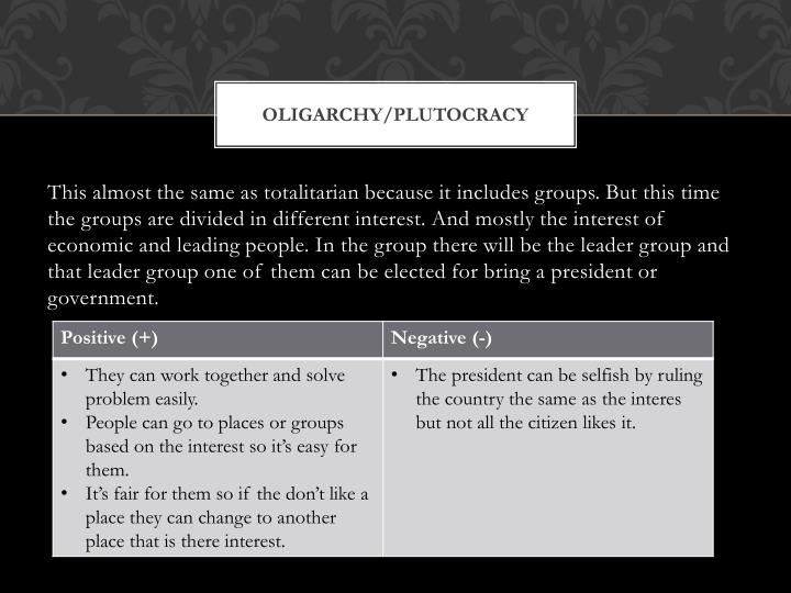 Oligarchy/Plutocracy