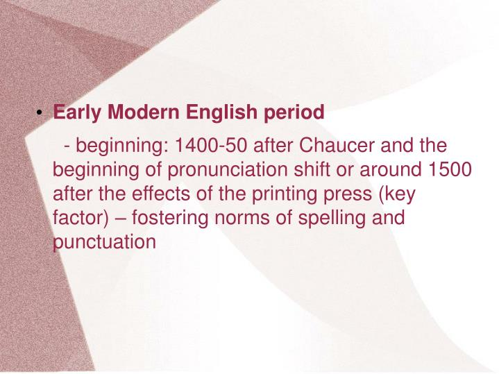Early Modern English period